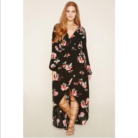 44265c9519f Forever 21+ Plus Size Floral Wrap Dress